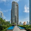 Alila SCBD Jakarta Pool and Exterior during the day.